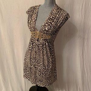 Sky leopard  gem mini dress